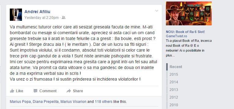 Pentru că s-a simţit atacat şi neînţeles, Andrei Afiliu a decis să se explice public printr-un mesaj postat pe Facebook, dar şi prin acest articol pe care sper că l-ai înţeles.
