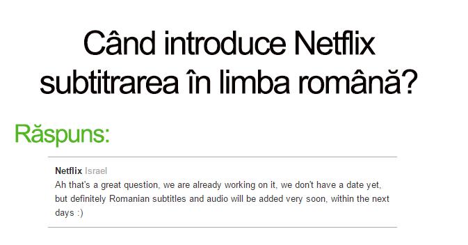 subtitrare in limba romana Netflix raspuns